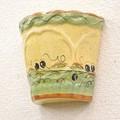ポルトガル製 手描きブラックオリーブ柄・植木鉢型ウォールポット【イエロー&グリーン】《底穴ナシ》