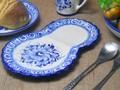 ポルトガル製 陶器 手描き ブルーフラワー 花柄 白地 青 モーニングプレート 楕円皿