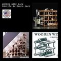 【アメリカ雑貨】 木製組立式ワインラック(6本収納タイプ)