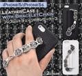 <スマホケース>チェーンで決める♪ iPhone SE/5s/5用ブレスレットチェーン付きレザーケース
