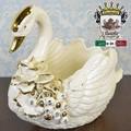 ★決算特価★イタリア陶器|Italia SONDA カプディモンテ 陶花金薔薇のスワンL