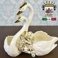★歳末SALE特価★イタリア陶器|Italia SONDA カプディモンテ 陶花金薔薇のスワンM