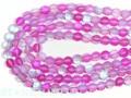 【天然石丸ビーズ】フロスティオーロラレインボー (ピンク) 10mm【天然石 パワーストーン】