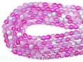 【天然石丸ビーズ】フロスティオーロラレインボー (ピンク) 8mm【天然石 パワーストーン】