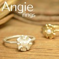 再入荷【Angie】2色展開。パール&フラワー リング!シンプル&フェミニン!***