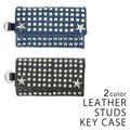 【年間定番】キーケース 本革 レザースタッズ カード入れ付き メンズ レディース キーズ Keys
