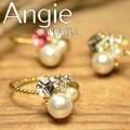 ***再入荷【Angie】3色展開。パール&ビジュー リング!シンプル&フェミニン!***