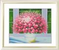 インテリアアートポスター額付絵画「ヒラリーメイヤー作:窓辺のピンクの花 L」
