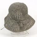 ラフィアクロッシェ帽子 つば9 アフガン編み風 11薄グレー