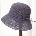 ラフィア細編み帽子楕円 つば9 ラベンダー