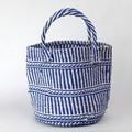 プラスチック+サイザルバッグ共手9インチ 伝統柄 青
