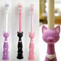 【直立するキュートなネコちゃん♪】ネコ歯ブラシ吸盤付き