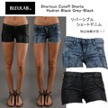 【Bleulab】 Short Cutoff Shorts /Hydron Black Grey-Black