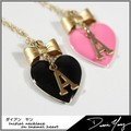 【Diane Yang】 エナメルハート イニシャルネックレス Initial necklace on Enamel heart