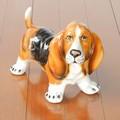 【イタリア製】バセット犬・陶器製・ドッグオブジェ・ヨーロッパハンドメイド人形【ペット動物置物】