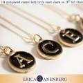 【ERICA ANENBERG】 14k gold plated enamel baby circle heart charm  イニシャルネックレス