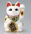 左手を上げる猫はお客を招く!■常滑焼【縁起置物/貯金箱】富本白小判猫左手