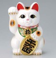 右手を上げる猫はお金を招く!■常滑焼【縁起置物/貯金箱】富本白小判猫右手