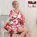 【再入荷】0019帯付きバラ花柄サテン花魁着物ミニドレス