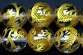 【天然石彫刻ビーズ】水晶 12mm (金彫り) 青龍【天然石 パワーストーン】