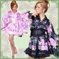 【再入荷】0322レースフリルサテン花柄花魁ミニ着物ドレス