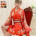 【再入荷】0116ゴールドパイピングフリル花車輪サテンミニ花魁着物ドレス