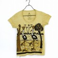 オーガニック泥染めTシャツ鳥2羽 (S) Uネック