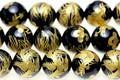 【天然石彫刻ビーズ】オニキス 10mm (金彫り) 鳳凰【天然石 パワーストーン】