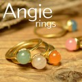 【Angie】新色5色。ゴールドまんまる石 リング!シンプル&フェミニン!***