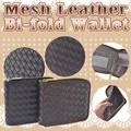 編みこみ2つ折財布 フェイクレザー ブラック ブラウン イントレチャート ファスナー