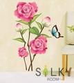 【ピンクローズと蝶】ウォールステッカー/自然/花/植物