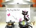 【黒猫】ウォールステッカー/油汚れ防止/キッチン/台所