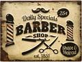 """アンティークエンボスプレート[レクト""""Barber""""]"""