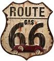 """アンティークエンボスプレート[ダイカット""""Route 66""""]<アメ雑>"""