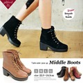 【SALE】◆ミドル丈レースアップタンクソールブーツ/靴/雑貨◆418898