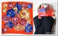 鮮やかなプリント花柄♪100%シルクプチスカーフ 04082