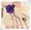 アンティーク風パープルの花モチーフ リング&ブレス L0038