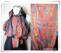 【セール】100%シルク3枚袋縫いファンタジー柄スカーフ/ストール 2906