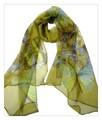 薄くすける100%シフォンシルクアニマ蝶々柄ロングスカーフ 0601