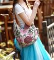 軽い布地のビーズ刺繍大きい花柄ショルダーバッグ ba074