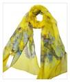 薄くすける100%シフォンシルクアニマ蝶々柄ロングスカーフ 0602
