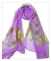 薄くすける100%シフォンシルクアニマ蝶々柄ロングスカーフ 0612