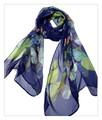 薄くすける100%シフォンシルクアニマ蝶々柄ロングスカーフ 0610