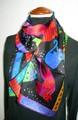 【値下げ】【値下げ】アニマルネコ柄100%シルクロングスカーフ  0655