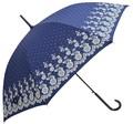婦人雨傘【フラワーレース&ピンドット】★60cmジャンプ傘★シックでキュート♪