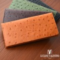 ★LUV-5001★Luciano Valentino ルチアーノバレンチノ オーストリッチ型押し レザースタンダード長財布