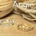 再入荷【Angie】2色展開。王冠クラウン プチパール リング!シンプル&フェミニン!***