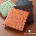 ★LUV-5002★Luciano Valentino ルチアーノバレンチノ オーストリッチ型押し レザースタンダード短財布