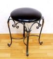 ◆ロートアイアン【黒レザー調/丸型スツール椅子いす】ネコ足/猫足◆