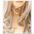 【ハンドメイド】薔薇グレーレースネックレス&ペンダントX028